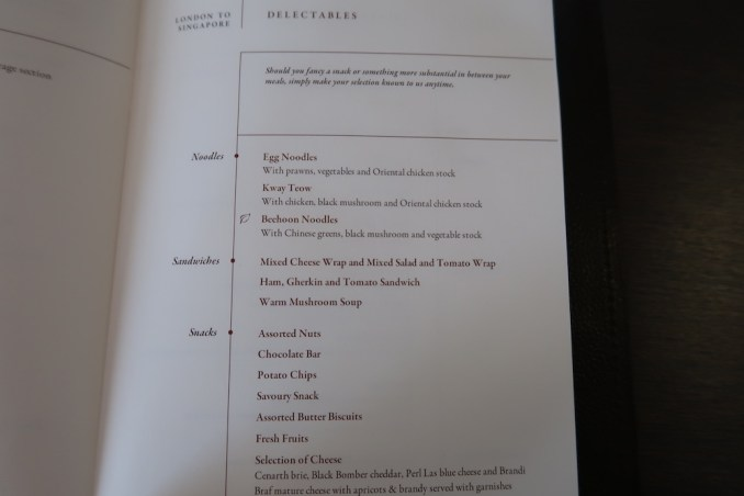 SINGAPORE AIRLINES A380 FIRST CLASS - MENU