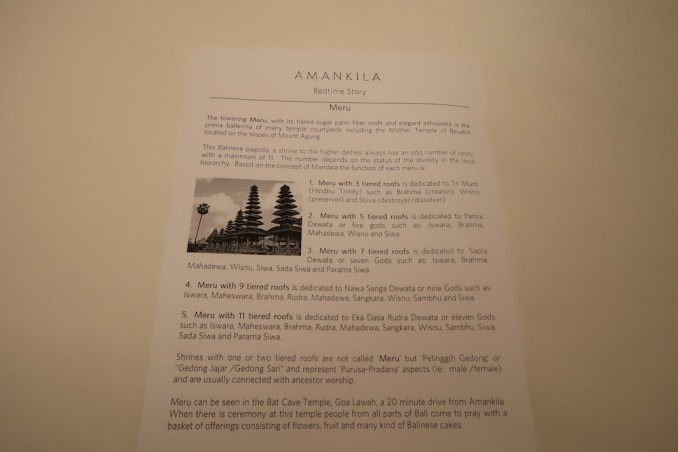 AMANKILA AT NIGHT - TURN DOWN SERVICE