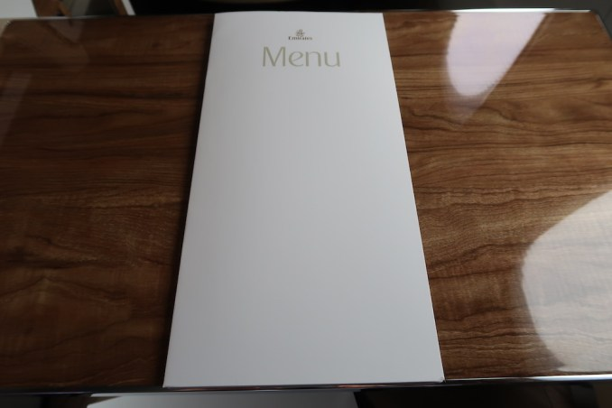 EMIRATES B777 BUSINESS CLASS MENU