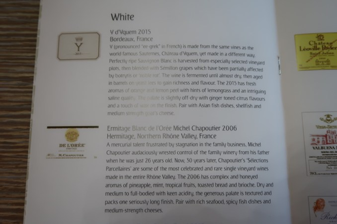 EMIRATES B777 FIRST CLASS: WINE LIST