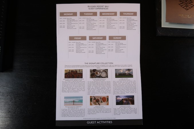 BULGARI BALI: OCEAN VIEW VILLA - MAP WITH GUEST ACTIVITIES