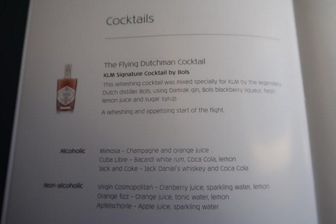 KLM A330 BUSINESS CLASS MENU