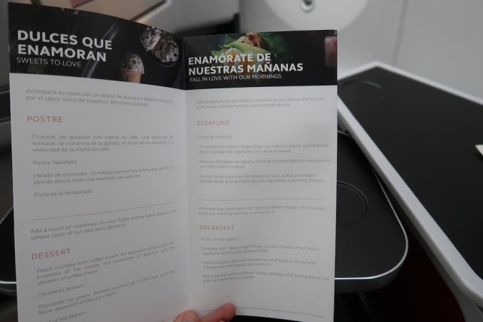 AVIANCA B787 BUSINESS CLASS: MENU