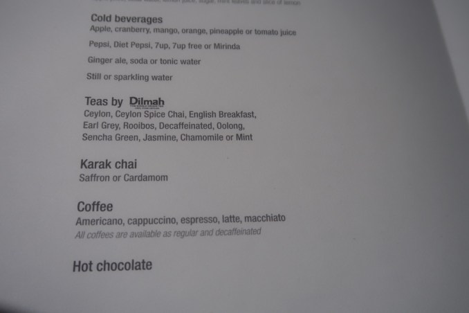 QATAR AIRWAYS A330 BUSINESS CLASS: MENU