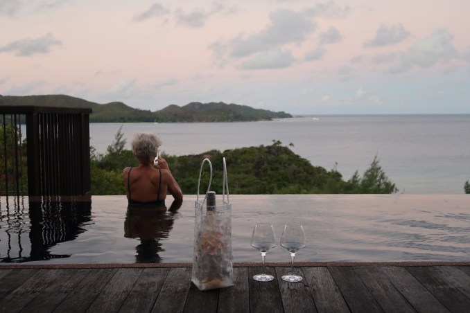 RAFFLES SEYCHELLES: OCEAN VIEW VILLA AT SUNSET