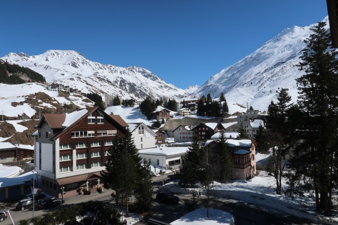 THE CHEDI ANDERMATT: DELUXE ROOM (VIEW FROM BALCONY)