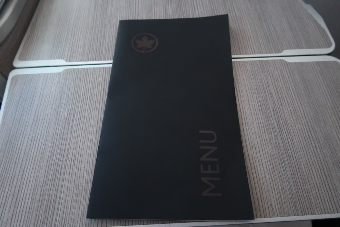 AIR CANADA B787 BUSINESS CLASS: MENU