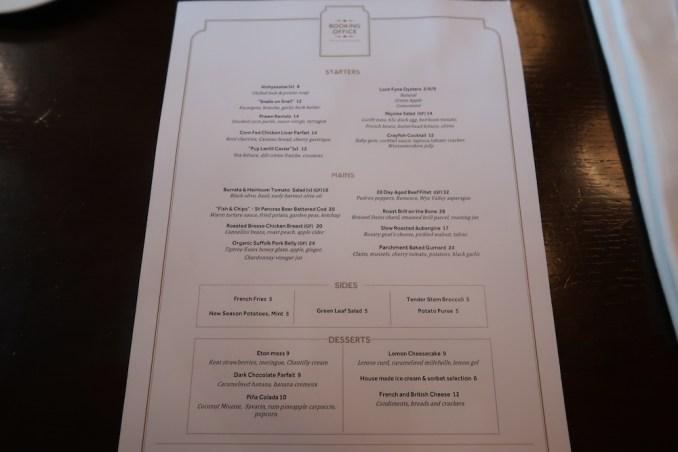 ST PANCRAS RENAISSANCE HOTEL: BOOKING OFFICE RESTAURANT (DINNER)