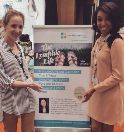 Me and Ashley Respress, an RN from the Integrative Lymphedema Institute, posing with my sign at the booth!