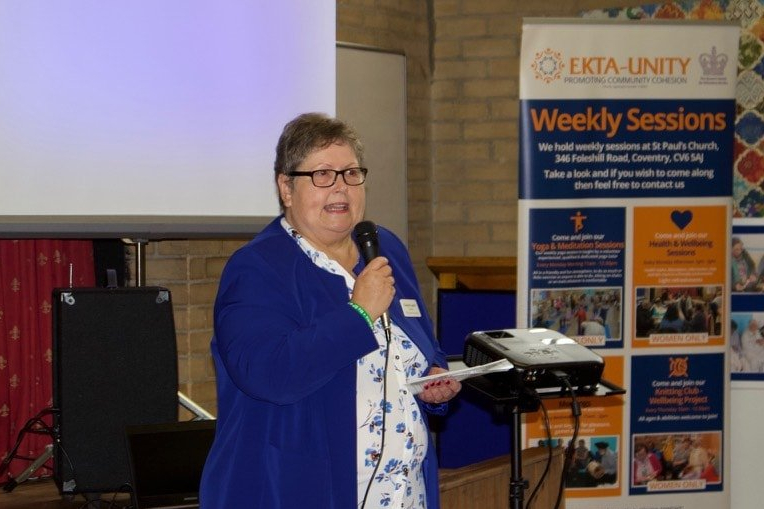 Gaynor Leech speaking at a Cancer Awareness and Support Event in Coventry.