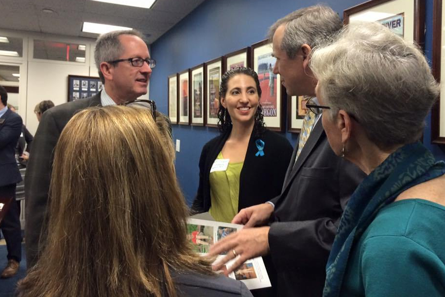 Board members of the Lymphedema Advocacy Group discussing the Lymphedema Treatment Act with Senator Merkley from Oregon.