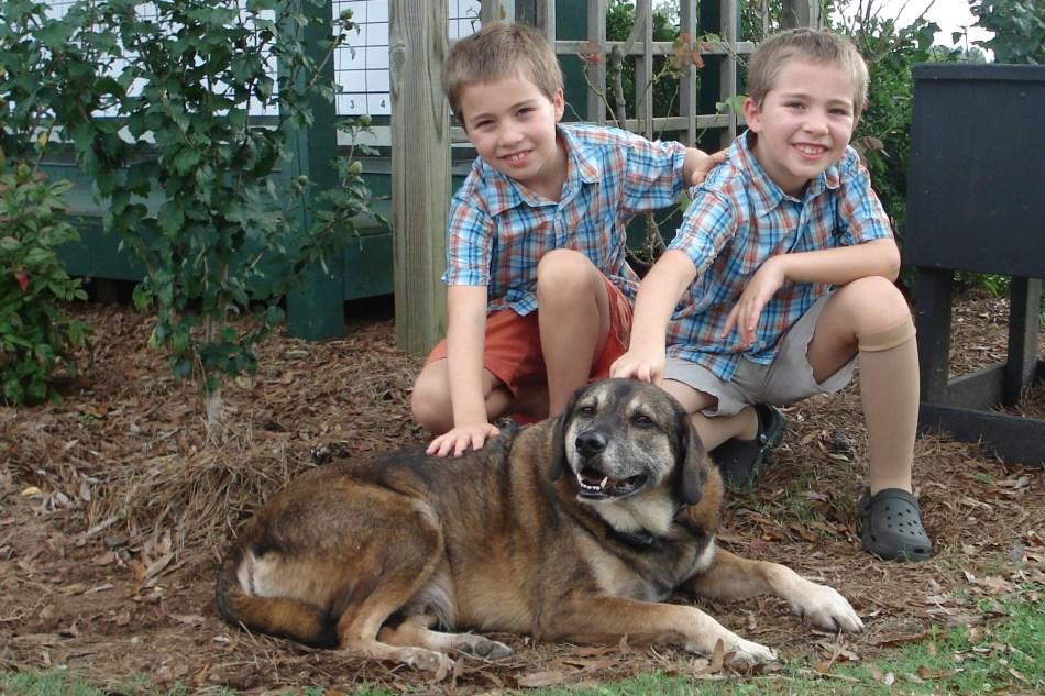 Ferguson's twin sons, Devdan and Dylan.