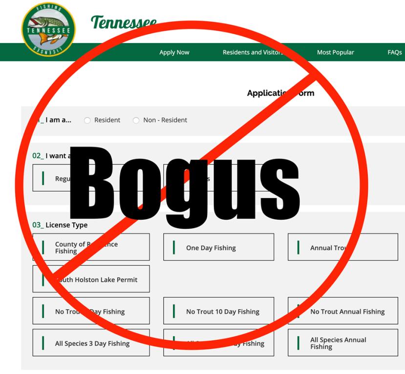 example of bogus TWRA website