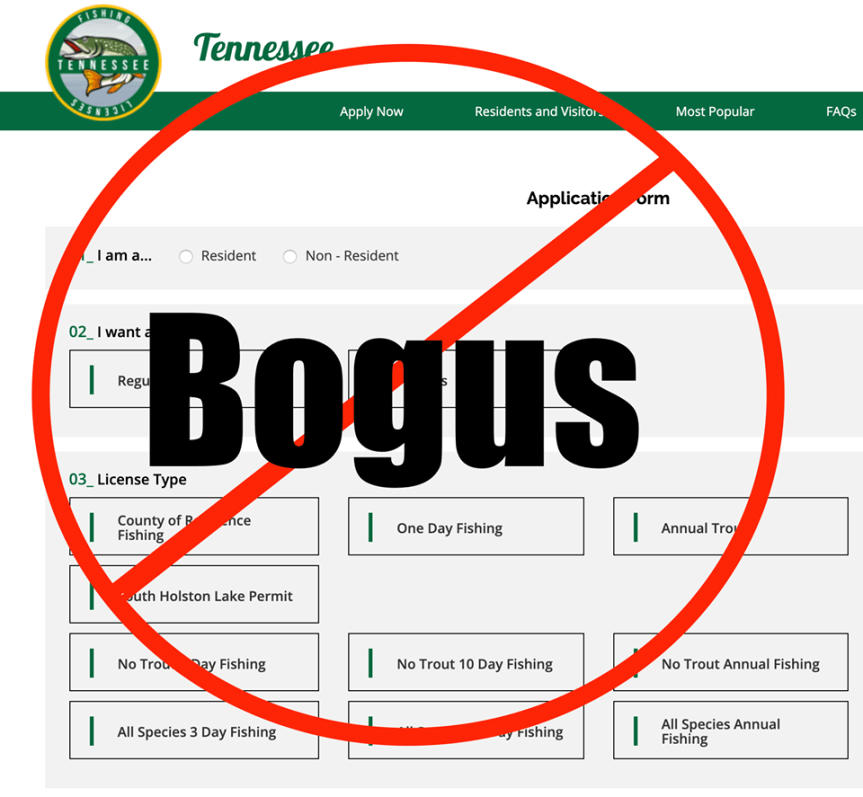 example of bogus TWRA website
