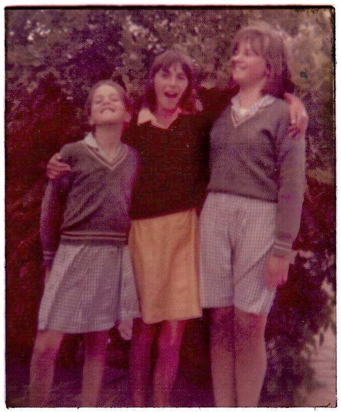 "Soo is on the far left. Bev is in the middle. I'm on the right. Do you know why I'm keeping my skirt between my legs like that? Because it was a windy day - and I was terrified that the wind would blow up my skirt and expose ""the shame"" of my ""fat legs and bum""."
