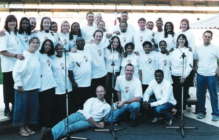 Leading the choir at Ellis Park Stadium and the Day of Prayer for Africa...