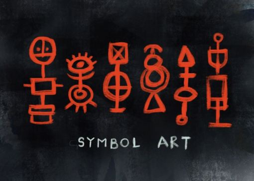Art with geometric shapes and symbols