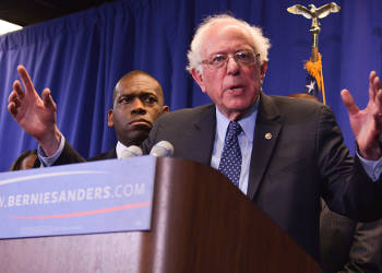 Presidential candidate Bernie Sanders speaks during a recent press conference following a roundtable discussion with Black pastors in Baltimore, Md. (Freddie Allen/AMG/NNPA News Wire)