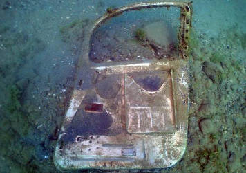 The cockpit of Lt. Frank Moody, a 22-year-old Tuskegee Airman whose aircraft malfunctioned and crashed over Lake Huron. David Losinski, a helicopter pilot, discovered Moody's plane on April 11, 2014, 70 years to the day after the pilot's accident. Photo courtesy of Urban News Service.