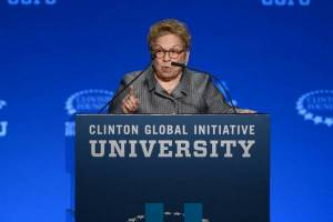 Donna Shalala, former UW–Madison chancellor and U.S. Secretary of Health and Human Services, will consider the status of women and well-being in Wisconsin and the world during a talk on Saturday, April 16. Photo: Philanthropy.com.