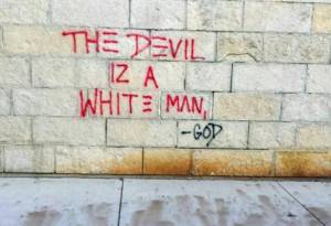 A piece of graffiti on the university's Humanities Building allegedly left by a student arrested this week.