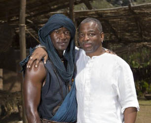 Malachi Kirby and LeVar Burton, Past and Present Kunta Kinte, History Channel's Updated Roots. Photo by Casey Crafford.
