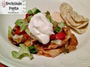 Try an easy and delicious play on enchiladas with this Enchilada Pasta recipe!