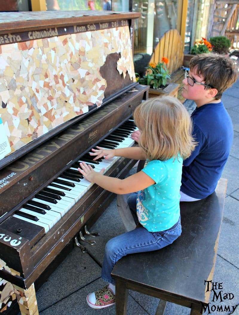 Playing the piano on the rooftop park!
