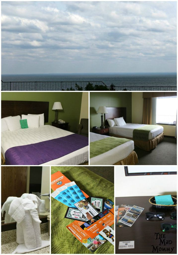 The lovely view and hotel room at the Edgewater Hotel and Waterpark in Duluth!
