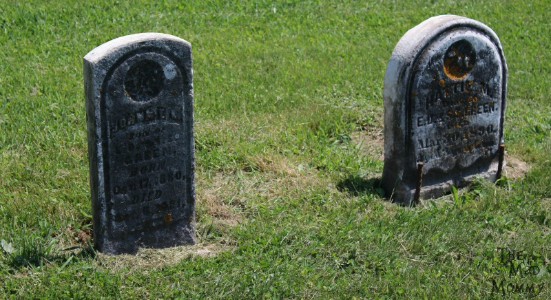Two small gravemarkers at the Poplar Hill Cemetery in Rock Elm, Wisconsin.