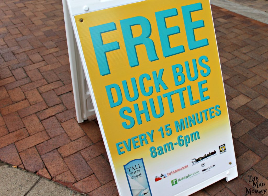 Free Duck Bus shuttles were offered to the Tall Ships.
