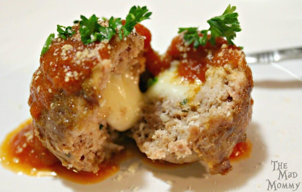 Mozzarella Stuffed Meatballs from The Mad Mommy!