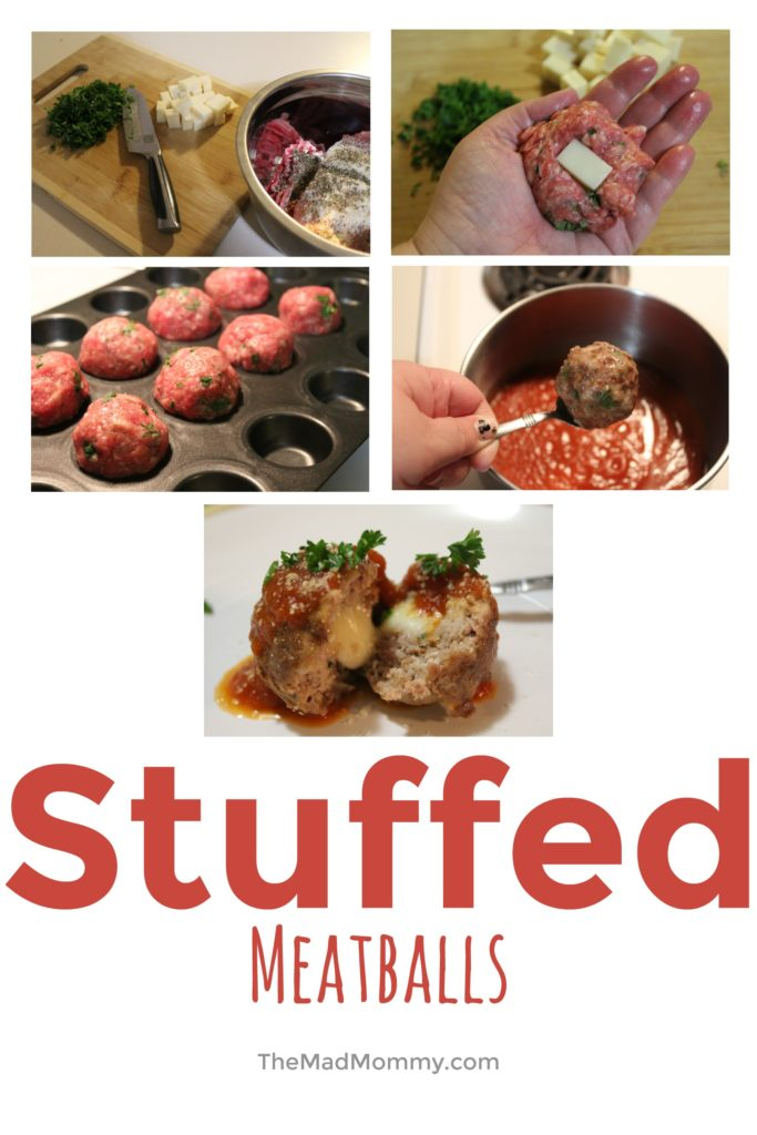 My family loves spaghetti. Honestly, my family loves all pasta and red sauce, but they especially love it with meat! I usually just use some ground beef or ground Italian sausage and add it into the sauce, but sometimes, I make it a little special by whipping up some of my Mozzarella Stuffed Meatballs!