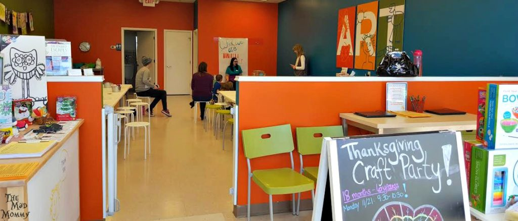 KidCreate Studio has an awesome space to accommodate kids of all ages and abilities. They have a warm and cozy meeting space, large white boards, chalk boards, tables and everything else that a child could need to create art!