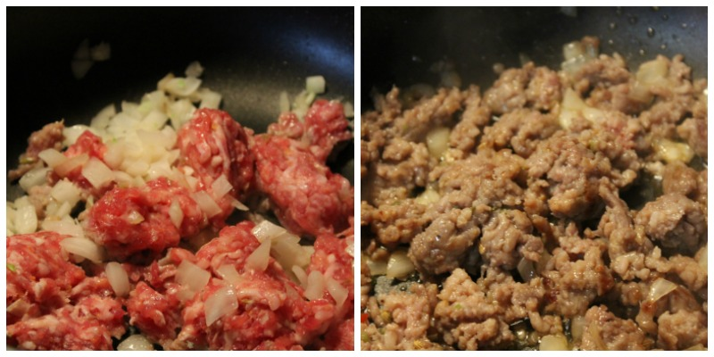 Browning the meat for the Zuppa Toscana!