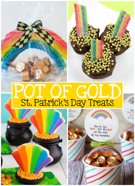 "It's almost St Patrick's day and it is always a fun way to celebrate! There's leprechaun traps, corned beef with cabbage, green beer and perhaps, even a pot of gold! Here are some ""Pot of Gold St Patricks Day Treats to help you get in the mood!"