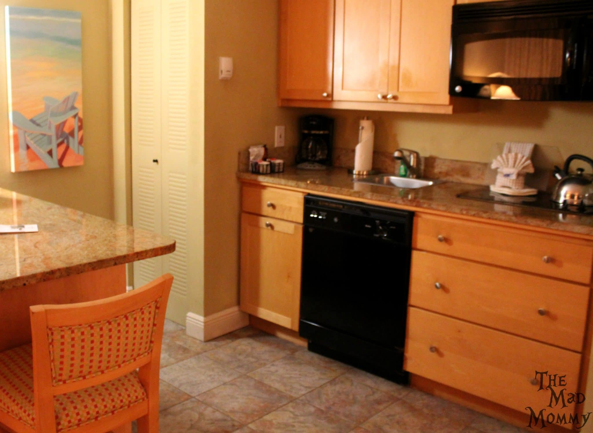 Kitchen area in the one bedroom suite at the Diamondhead Beach Resort.