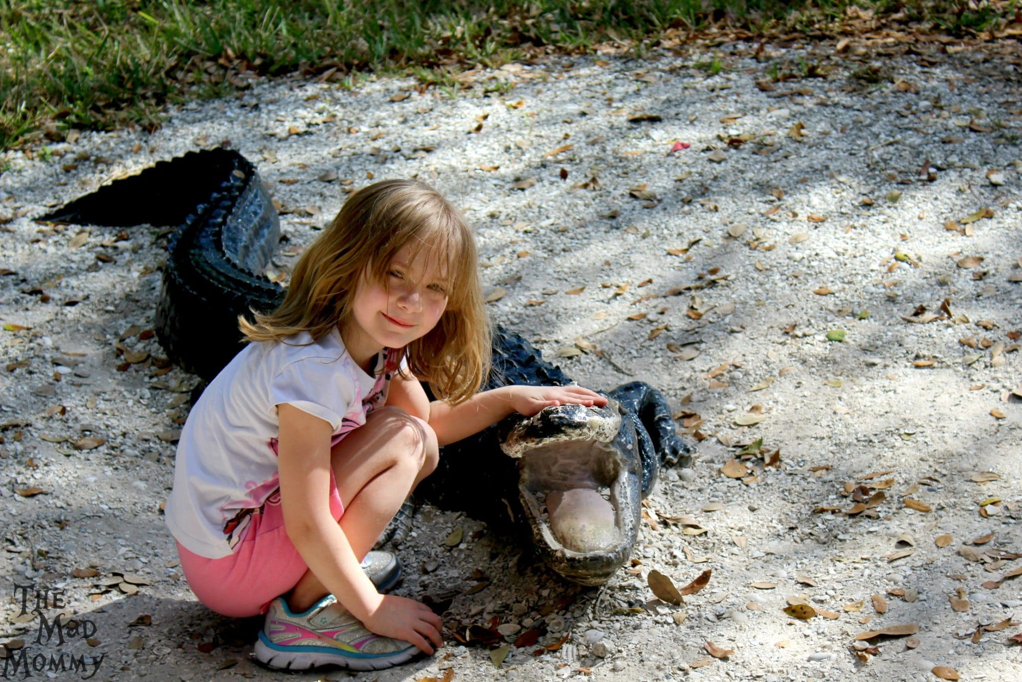 Posing with an American Alligator replica at Manatee Park.