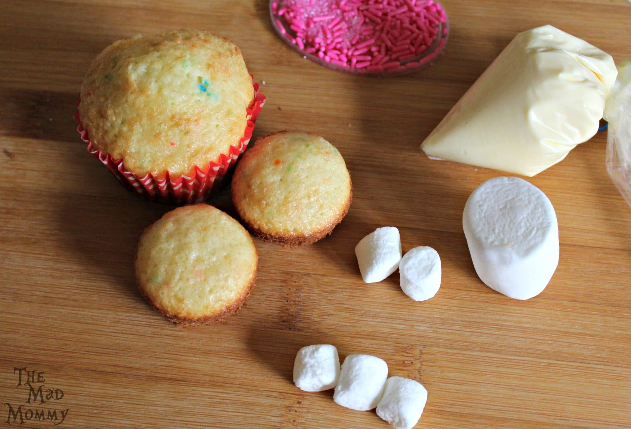 The ingredients for The Mad Mommy's Quick Like A Bunny Cupcakes!