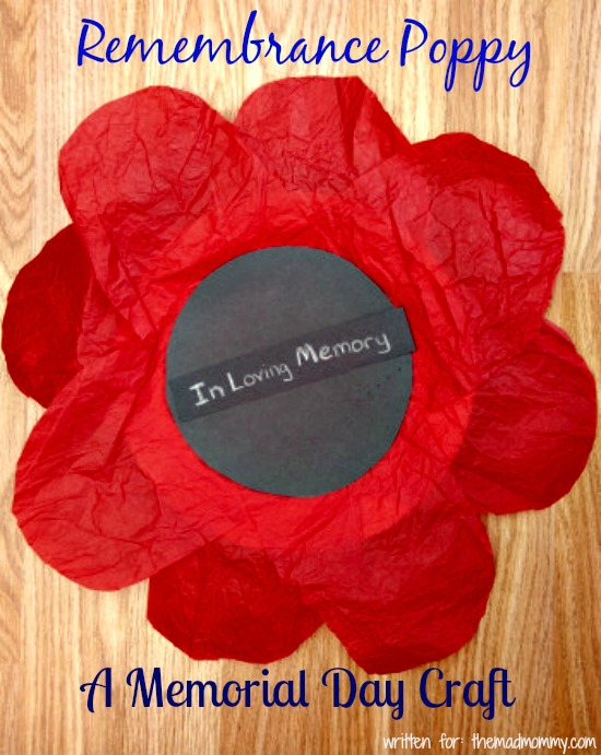 Have your kids create a giant red poppy out of tissue paper in remembrance of the brave soldiers who served, especially those who went into battle and died serving the country.