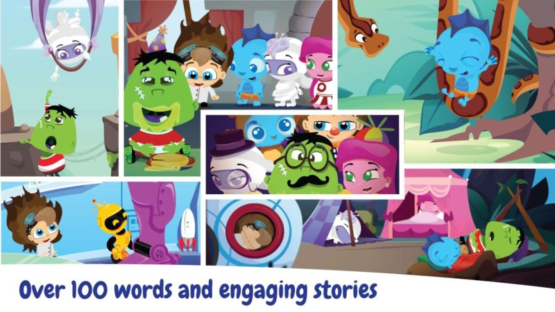 In Wonster Words, kids play with animated letters to put together the words. These animated letters will sound out the phonics, gliding vowels, and consonant blends as they are being played. Once the words are complete, short animations and mini-games tell the story of the words via a group of adorable Wonster characters!