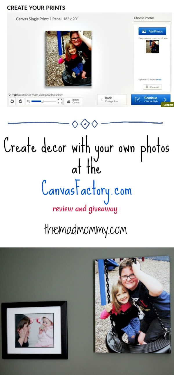 Create your own decor with your own photos! It's easy to create your own canvas prints online at the canvasfactory.com!