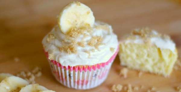Banana Cream Cupcakes with Brown Sugar Frosting