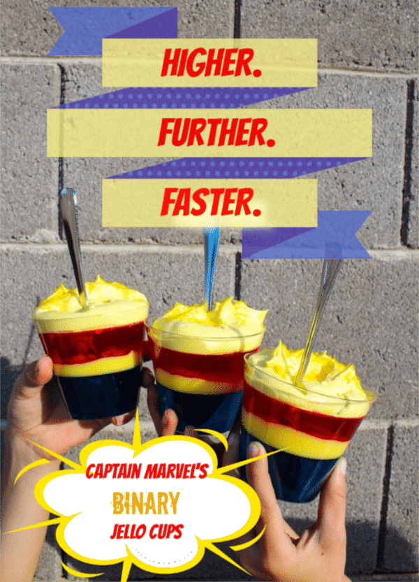 Marvel Studios is taking us back to the 90's and introducing a whole new generation to Carol Danvers a.k.a Captain Marvel! In honor of her HERoic return, I came up with another one of my sweet dessert recipes for you! Check out these Captain Marvel Jello Cups and don't forget to go Higher. Further. Faster! on March 8th, when #CaptainMarvel hits theaters!