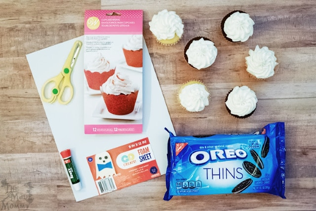 Ingredients and supplies to make these Mickey Mouse Inspired Cupcakes.