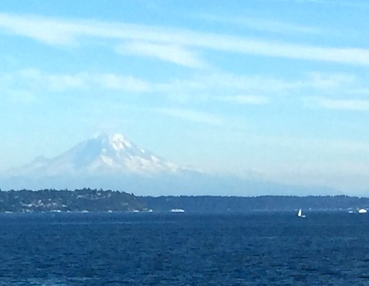 Taking the ferry over to Bainbridge Island. Yes that is snow in August