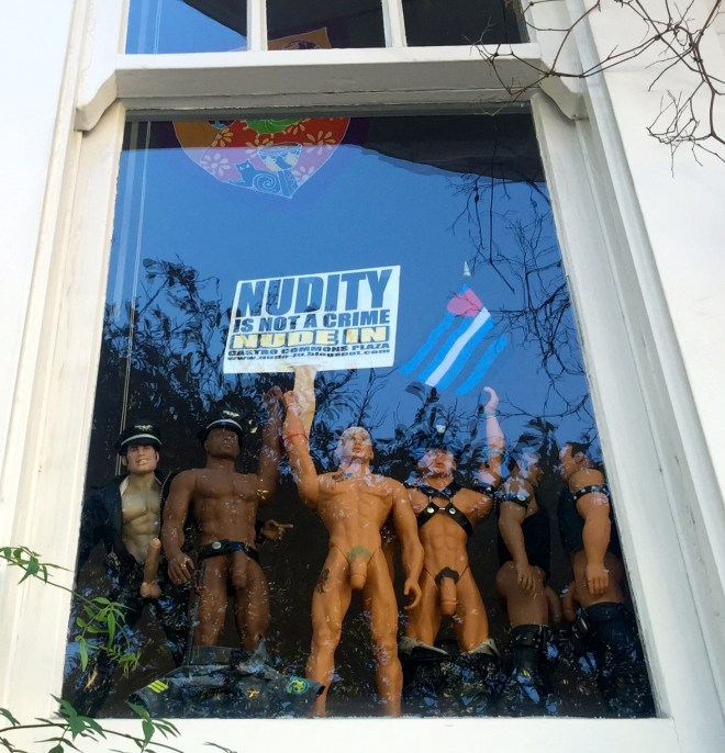 A store window in the Castro. Nudity is NOT legal here, despite attempts at passing a by-laaw