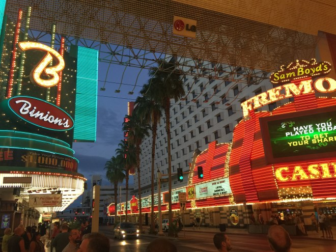Viva Las Vegas!  Sarah;'s useless pop face: the opening sequence for the Elvis movie Viva Las Vegas was shot here in Fremont street