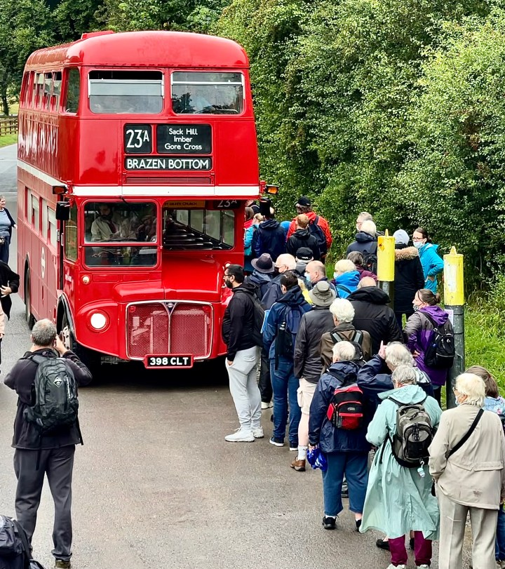 queuing for the bus to Brazen Bottom, amber ghost village