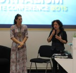 Elizabeth Barnett (left) talks to Mary Hogarth at the Graduate Conference